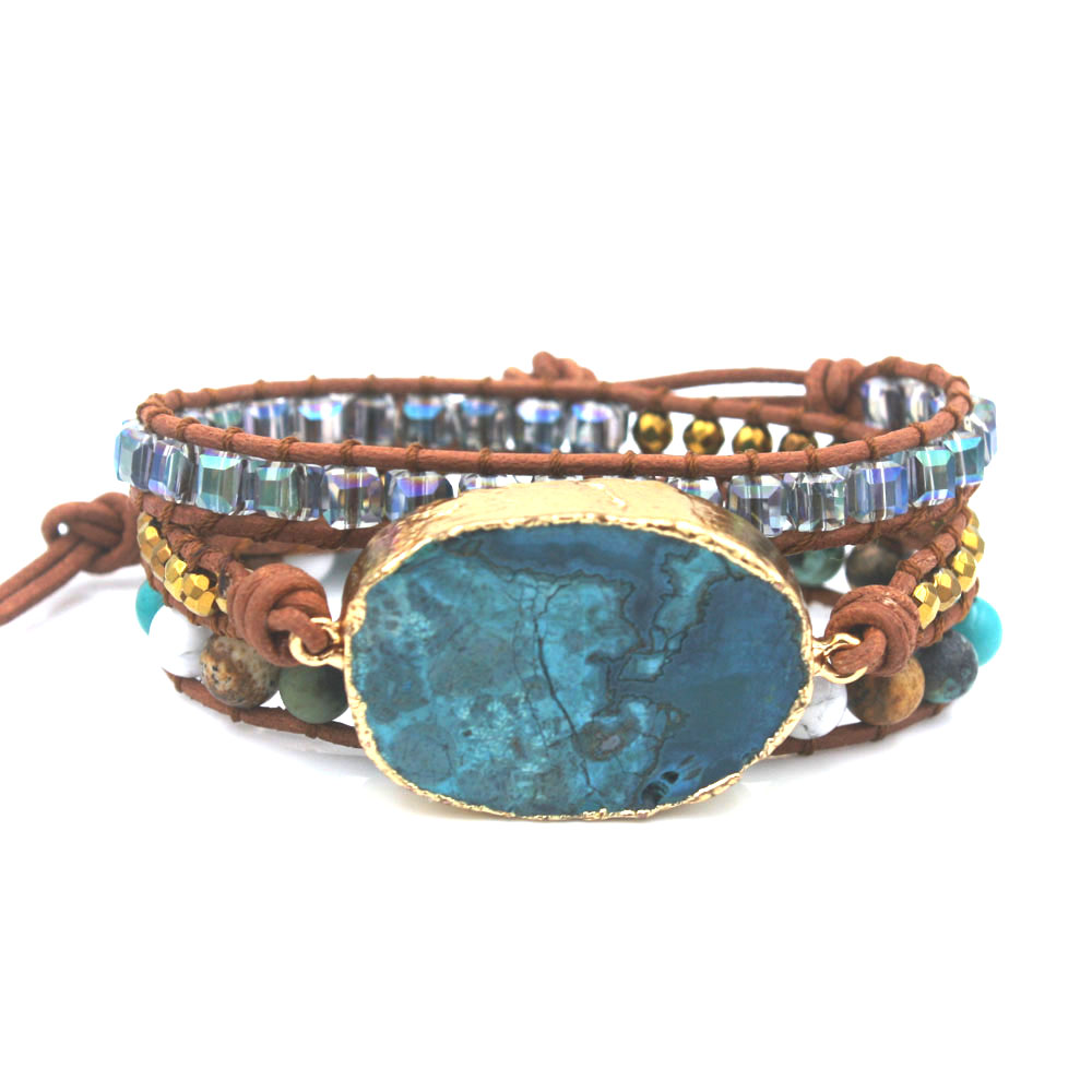 Boho jewelry Women Bracelet Mixed Natural Stones Gilded Stone 3 Strands Wrap Bracelets Handmade Leather Bracelet Dropship