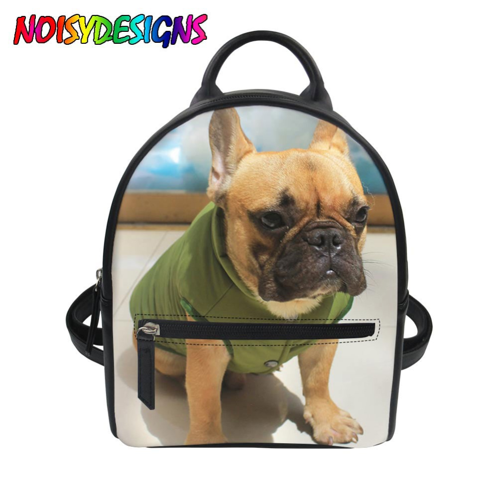Sammlung Hier Pu Leder Rucksack Frauen Französisch Bulldog Drucken Teenager Mädchen Mini Rucksack Mode Infantil Reise Lagerung Bolsa Mochila Sac StraßEnpreis