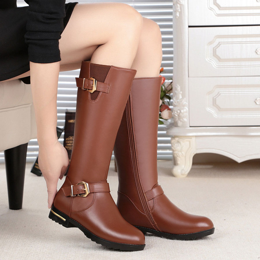Nice Large Size 34-44 WomenS Boots Thick Low Heel High Quality Warm Leather Boots Comfortable Velvet Warm Ladys Boots Female Nice Large Size 34-44 WomenS Boots Thick Low Heel High Quality Warm Leather Boots Comfortable Velvet Warm Ladys Boots Female