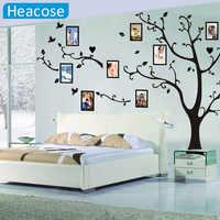 Grand 180*260 cm/70.9 * 102.4in coloré 3D arbre de photos à faire soi-même PVC Stickers muraux/adhésif famille Stickers muraux Art Mural décor à la maison