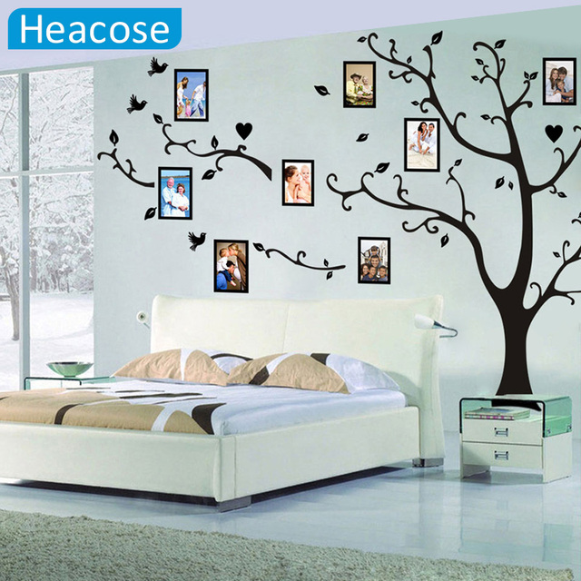 Large 180*260cm/70.9*102.4in colorful 3D DIY Photo Tree PVC Wall Decals/Adhesive Family Wall Stickers Mural Art Home Decor 2019