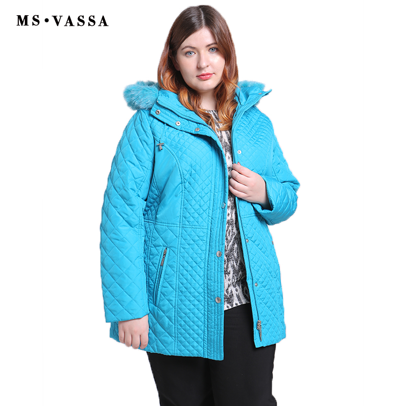 MS VASSA Plus Size Women Coats 2019 New Ladies   Parka   Winter Jacket Women ukraine Wide-waisted Turn-down collar   Parkas   XL-11XL