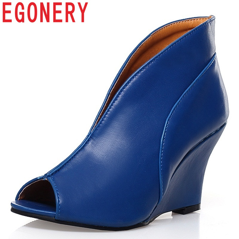 EGONERY Handmade Rome Sexy Novelty Peep Toe Pumps Fashion big size Woman Wedges Shoes Spring summer 8.5cm High Heels Women shoes enmayer fashion summer shoes woman high heels wedges sansals women hook