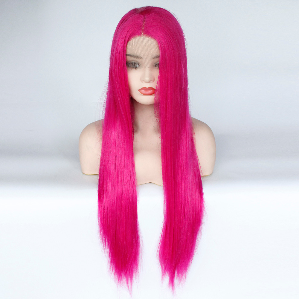 Glueless High Temperature Fiber Natural Hairline Hair Wig Rose Pink Long Straight Layered Haircut Synthetic Lace Front Wig