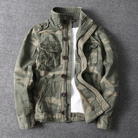 Men Camouflage Combat Jackets Retro Military Pocket Outwear Army Coats Casual Male Cotton Size S 2XL