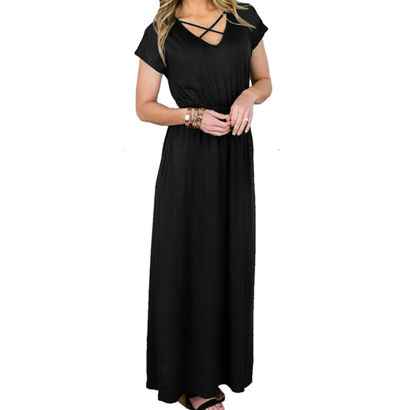 Summer Long Maxi Dress Female Loose Short Sleeve V neck Women Dresses Beach Boho Sundress New Plus Size Solid Casual Dress GV142-in Dresses from Women's Clothing on AliExpress - 11.11_Double 11_Singles' Day 1