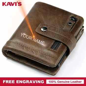 KAVIS Free Engraving Genuine Leather Wallet Men PORTFOLIO Male Cuzdan Small Portomonee Perse Coin Purse Fashion Money Bag Name - DISCOUNT ITEM  47% OFF All Category