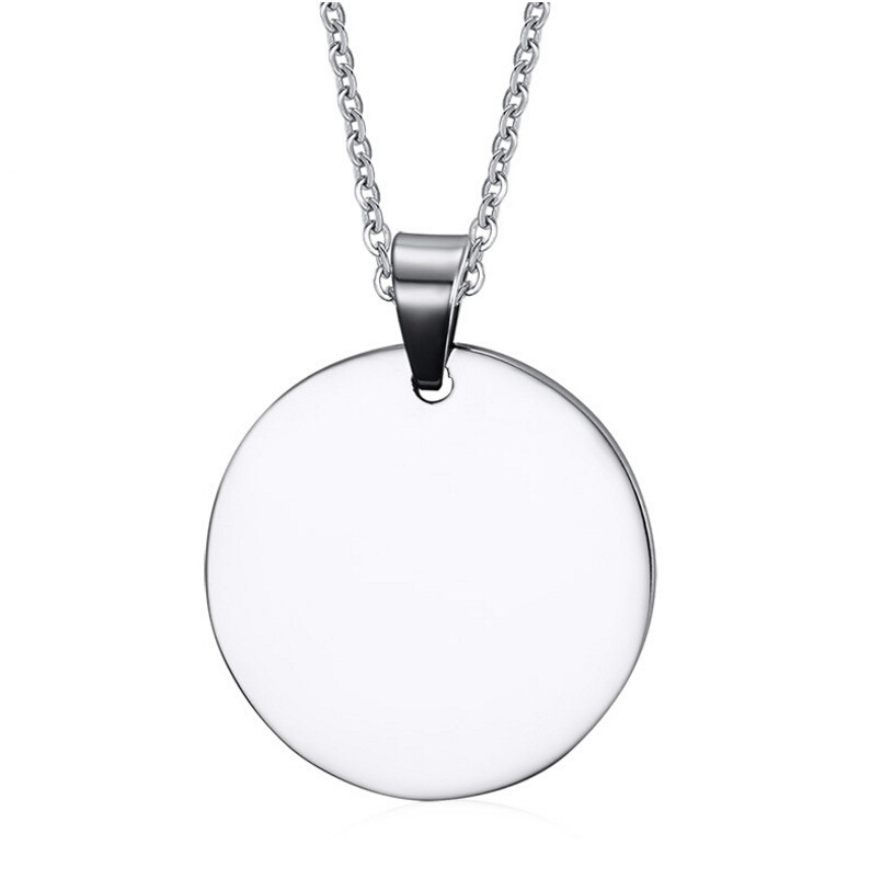 Personalized Engraved Round Stainless Steel Pendant Blanks
