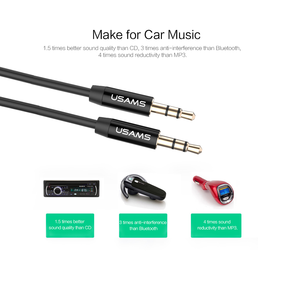 Aux Cable Car 3.5mm to 3.5mm Jack Audio Cable Kabel Male to Male ...