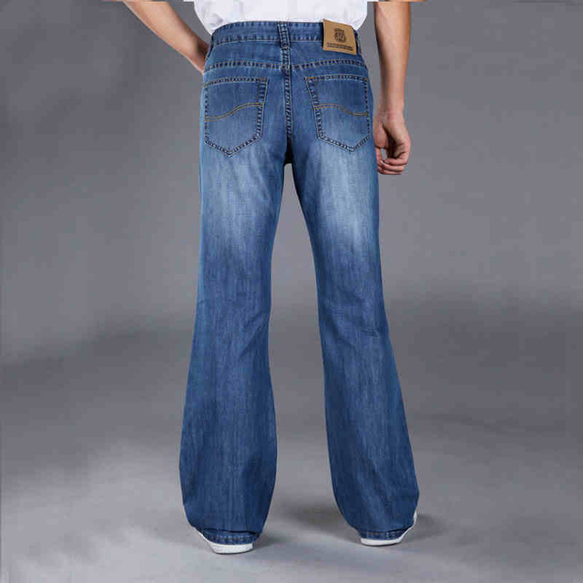 Aliexpress.com : Buy Mens Blue Flared Jeans Trousers Long Wide Leg ...