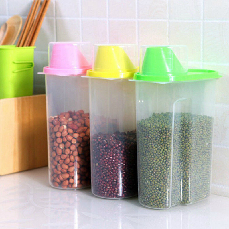Useful Plastic Kitchen Food Cereal Grain Bean Rice Storage Container