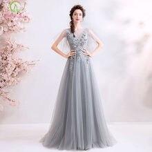 aedc6c4dc6 SSYFashion nuevo elegante gris largo vestido De noche De encaje apliques De  flores cordón piso-longitud vestido Formal Vestidos .