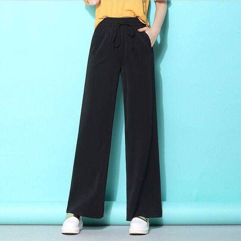 2019 Summer Chiffon Straight Long   Pants   Trousers Pantalones Women Bow Drawstring Loose Autumn Oversized Maxi   Wide     Leg     Pants   Girl