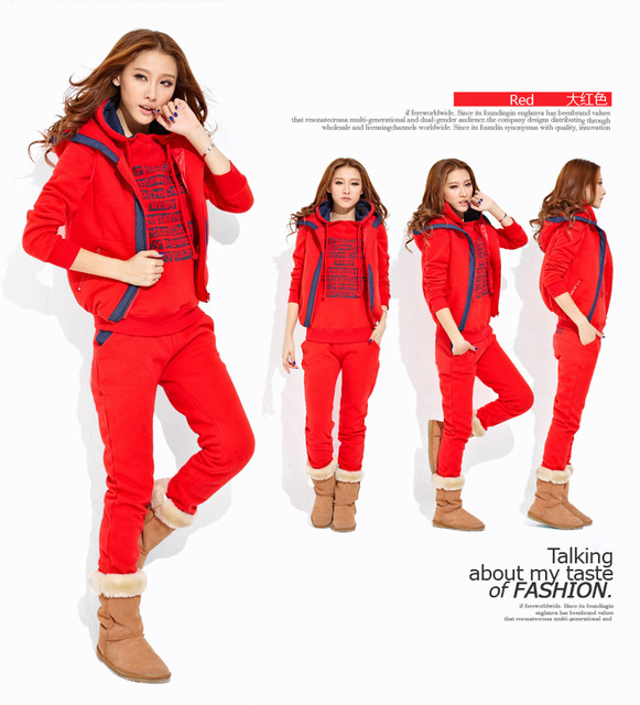 Free shipping 2013 fashion sports and leisure suit female Korean version of the thick fleece hooded sweater Three-piece