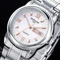 FEDYLON Top Brand Luxury Quartz Watches For Men Stainless Steel Dual Calendar Waterproof Wristwatch Male Clock