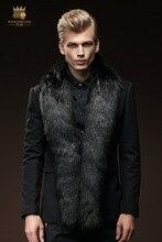 Бесплатная Доставка Новый мужской моды мужские зимние меховые пальто длинный участок обычный Корейский ветер пальто 0080 fanzhuan