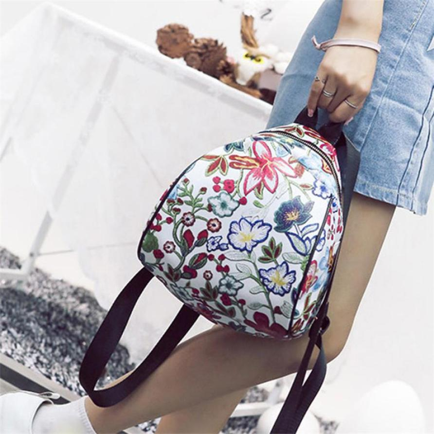 Vintage Embroidery Ethnic Canvas Backpack Flower Travel Bags Schoolbag Girls Small Travel Princess Backpacks 18/18