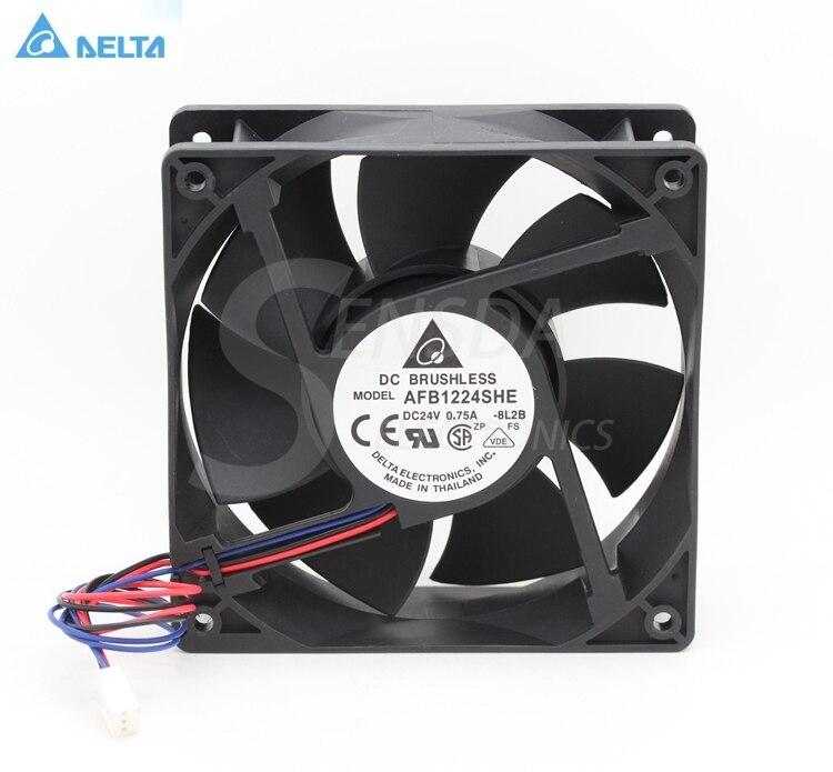 Delta AFB1224SHE 12CM 120MM 1238 12038 DC 24V 0.75A axial server inverter cpu cooler COOLING FANs new original sunon 12cm psd2412pmb1 24v 19 5w 2wire server inverter axial cooling fans120 120 38mm