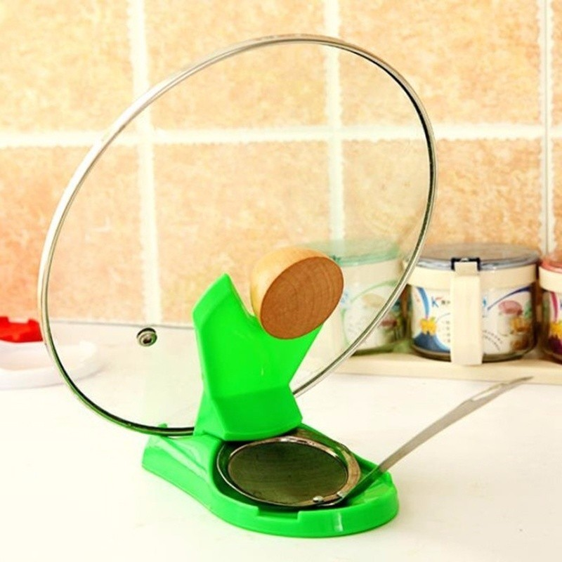 1pc Pot Lid Shelf Dispenser Pan Spoon Pot Holder Kitchen Storage Design Cooking Tool  (1)