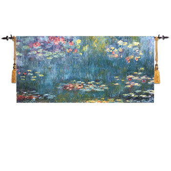 "65*135cm Home world famous painting Monet ""water lily"" lotus wall hanging fabric textile decoration wall carpet tapestry ST-554"