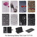 Auto Sleep función Wake PU cubierta de cuero para Samsung Galaxy Tab 3 Lite 7.0 T110 caja de la tableta de la carpeta del estilo con ranura para tarjeta