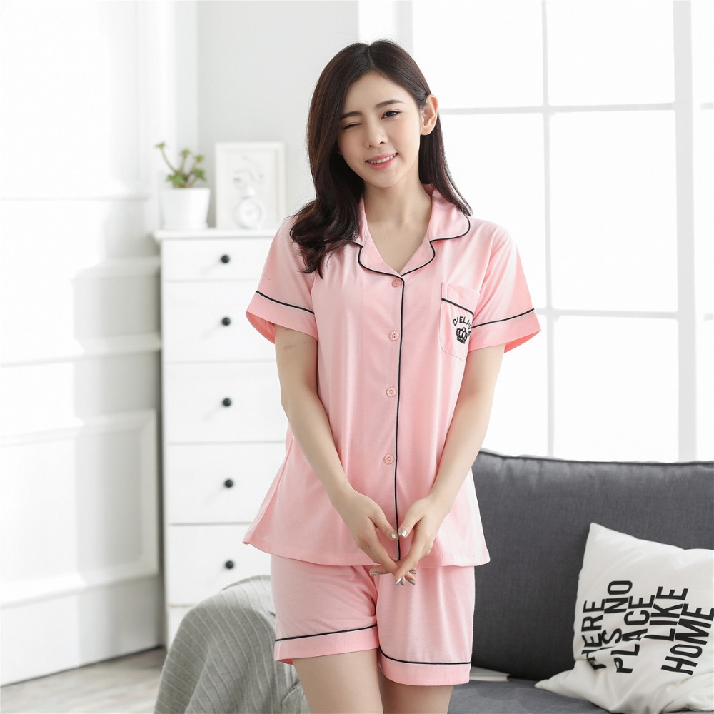 Summer New Short Sleeve Victoria's Secret Embroidered   Pajamas     Set   Short Sleeve Shorts Cool Summer Home Suit