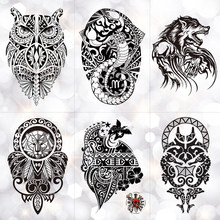d1f853347 Black Wolf Lion Totem Waterproof Temporary Tattoo Sticker Owl Power Maori  Flash Tattoos Body Art Arm Fake Tatoo Men