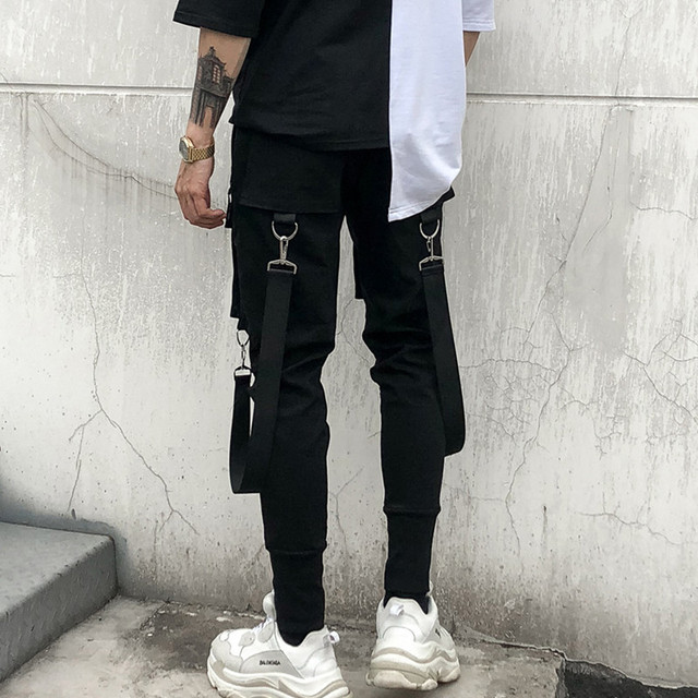 Men Multi-pocket Elastic Waist Design Harem Pant Street Punk Hip Hop Casual Trousers Joggers Male Dancing Pant 1