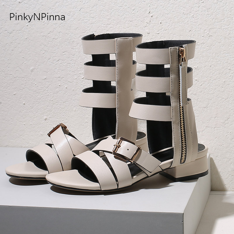 women strappy gladiator sandals boots genuine leather low heels zip up summer cutout ankle booties Gothic punk street cool shoes in Ankle Boots from Shoes