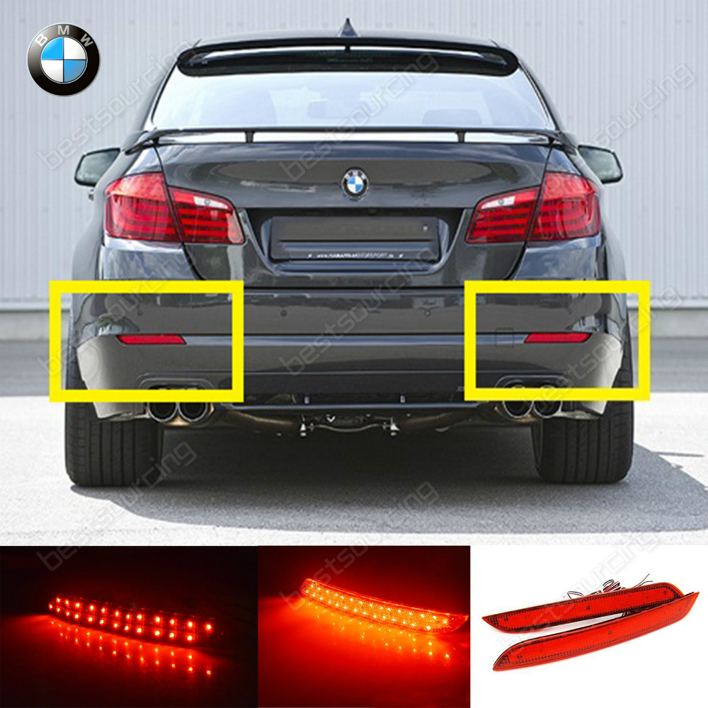 2x 5 series f10 f11 f182 red led rear bumper reflector brake stop reverse tail