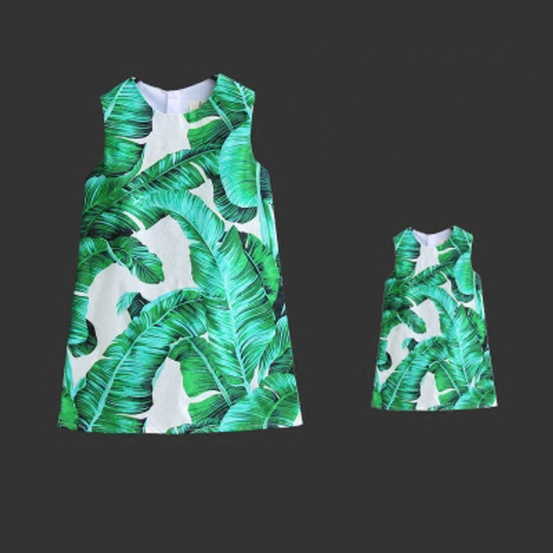 Brand new Summer fashion dress Vest skirt Green banana leaf printing Woman Girls Family fitted Mother daughter cotton A dress firestone performer 480 70r30 147d