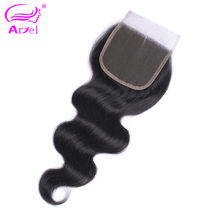 Ariel Indian Natural Color No Smell 8-20 Inch Body Wave Free Part 4*4 Lace Closure Non-Remy Hair 1PC Human Hair Free Shipping(China)