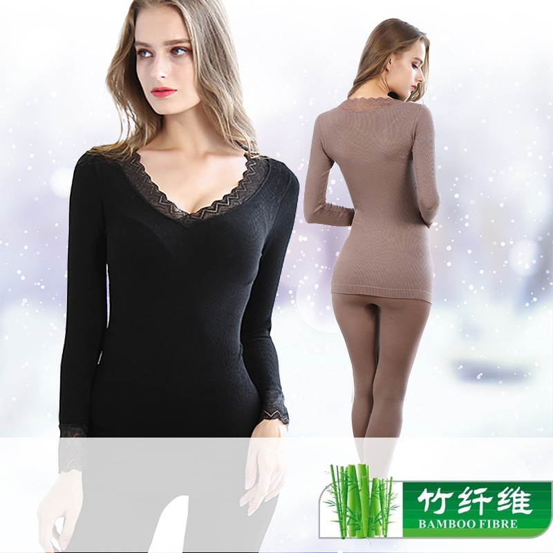Bamboo Fiber Bottoming Seamless Body 37 Degree Constant Temperature Long Sleeve Thermal Women's Suit