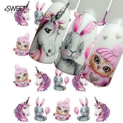 1 pegatina para uñas calcomanías de transferencia de agua unicornio sirena dibujos animados marca de agua deslizador Gel decoración de uñas manicura