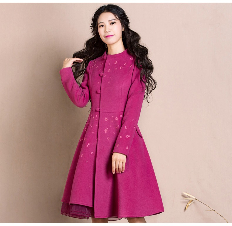 2018 Femmina Inverno Sottile Ricamato Di Lana Autunno rosso Nuovo Colore Monopetto Lungo E Retro Fiore Cappotti Rosa Outwear rvfrqw