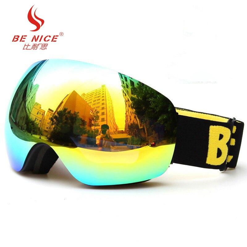 Лыжные очки за Очки 2018 Новый поляризованные двойной прозрачные линзы анти-туман УФ ветрозащитный унисекс Альпинизм Лыжный Спорт Очки bn521