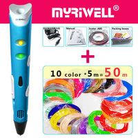 myriwell   3d     pen     3d     pens  ,50m1.75mmABS/PLA Filament,3 d pen3d model,Creative3d printing   pen  ,Best Gift for Kids DIY creative,  pen  -  3d