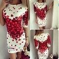 Новый 2017 Лето Dress Print Сердце Любовь Женщины Dress сексуальная Повседневная Симпатичные Bodycon Dress Для Ropa Mujer Vestidos Повязки Dress