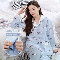 Cotton padded Maternity Nursing Nightwear Autumn Winter Breastfeeding Lounge for Pregnant Women Pregnancy Homewear Sleepwear Set