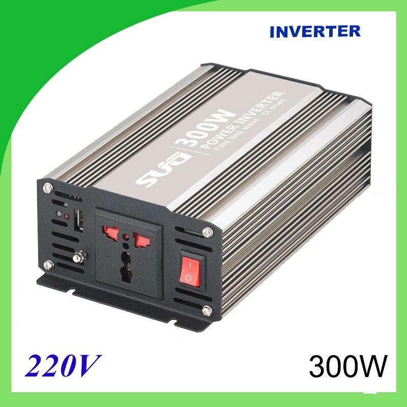 Onduleur solaire à onde sinusoïdale pure 300 W DC 12 V 24 V à AC 110 V 220 V numérique