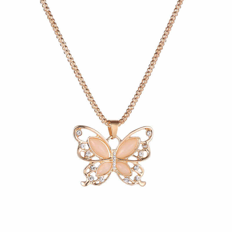 Rose Gold Opal Butterfly Pendant Necklace Crystal Hollow Long Necklace Women Fashion Lady Sweater Chain Gift Charm Necklace