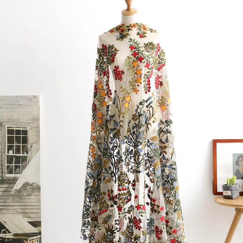 LASUI 1 Yard DIY Skirt Wedding Dress Accessories High-grade Full Flower Color Embroidery Mesh Lace Fabric Fine Workmanship X0551
