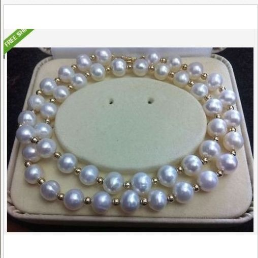 classic 9-10mm sout sea white round pearl necklace 24inch