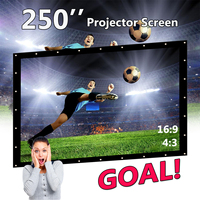 250 Rolled Up Portable Projector Screen 16:9 Portable Screen for Projector Home Theater Full HD 3D Projection Wall mounted