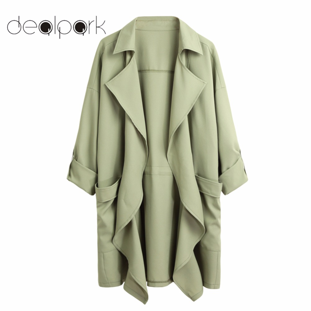 2018 Autumn 5XL Plus Size Trench Coat for Women Solid Lapel Pocket Rolled Sleeve Casual Cardigan Loose Long Outerwear Oversize