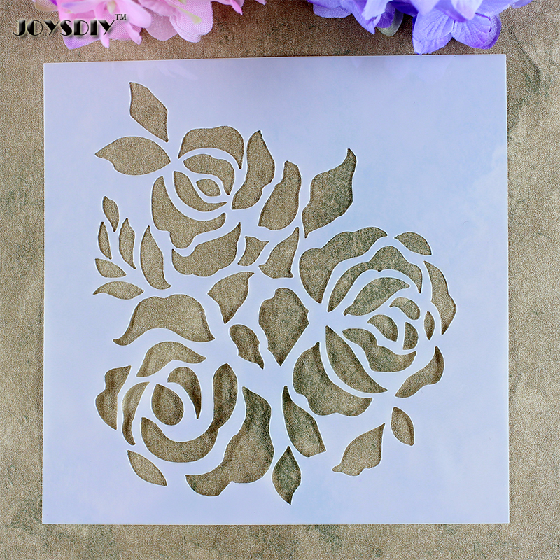 3 pi ces rose ensemble pochoir scrapbooking outil masquage pulv risation carte diy album murs. Black Bedroom Furniture Sets. Home Design Ideas