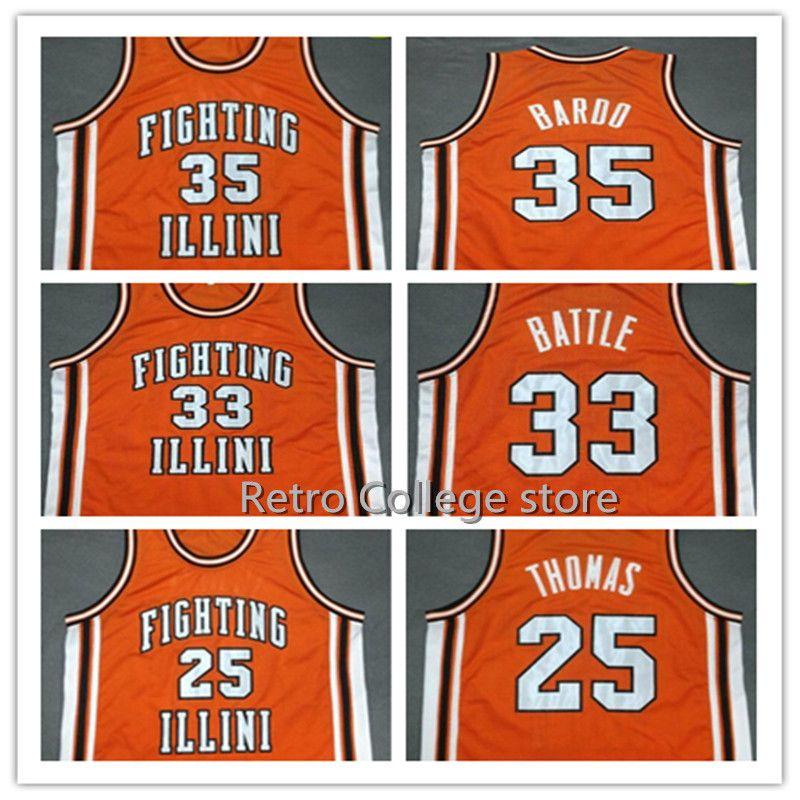 #35 STEPHEN BARDO 25 DEON THOMAS #33 KENNY BATTLE Fighting Illinois College Orange Retro throwback stitched embroidery jersey ...