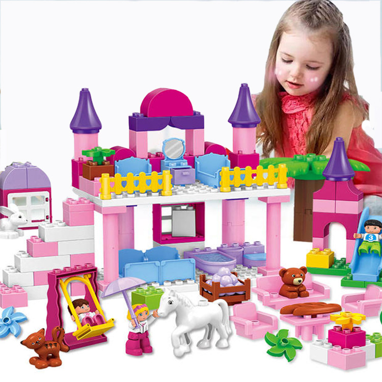 117pcs Building Blocks Pink Princess Castle Set Girls Dream House Bedroom Bricks Parts Role Play Toys Compatible Duploe