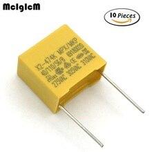 Condensador MCIGICM 10 Uds 470nF X2 capacitor 275VAC Pitch 15mm X2 condensador de película de polipropileno 0,47 uF