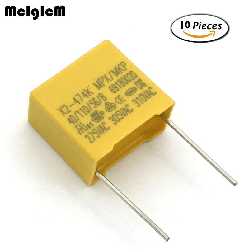 MCIGICM 10pcs 470nF Capacitor X2 Capacitor 275VAC Pitch 15mm X2 Polypropylene Film Capacitor 0.47uF